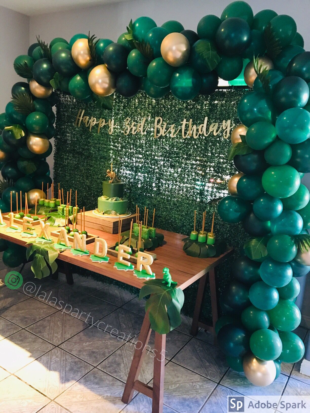 Green And Gold Balloon Arch Green Party Decorations Gold Theme