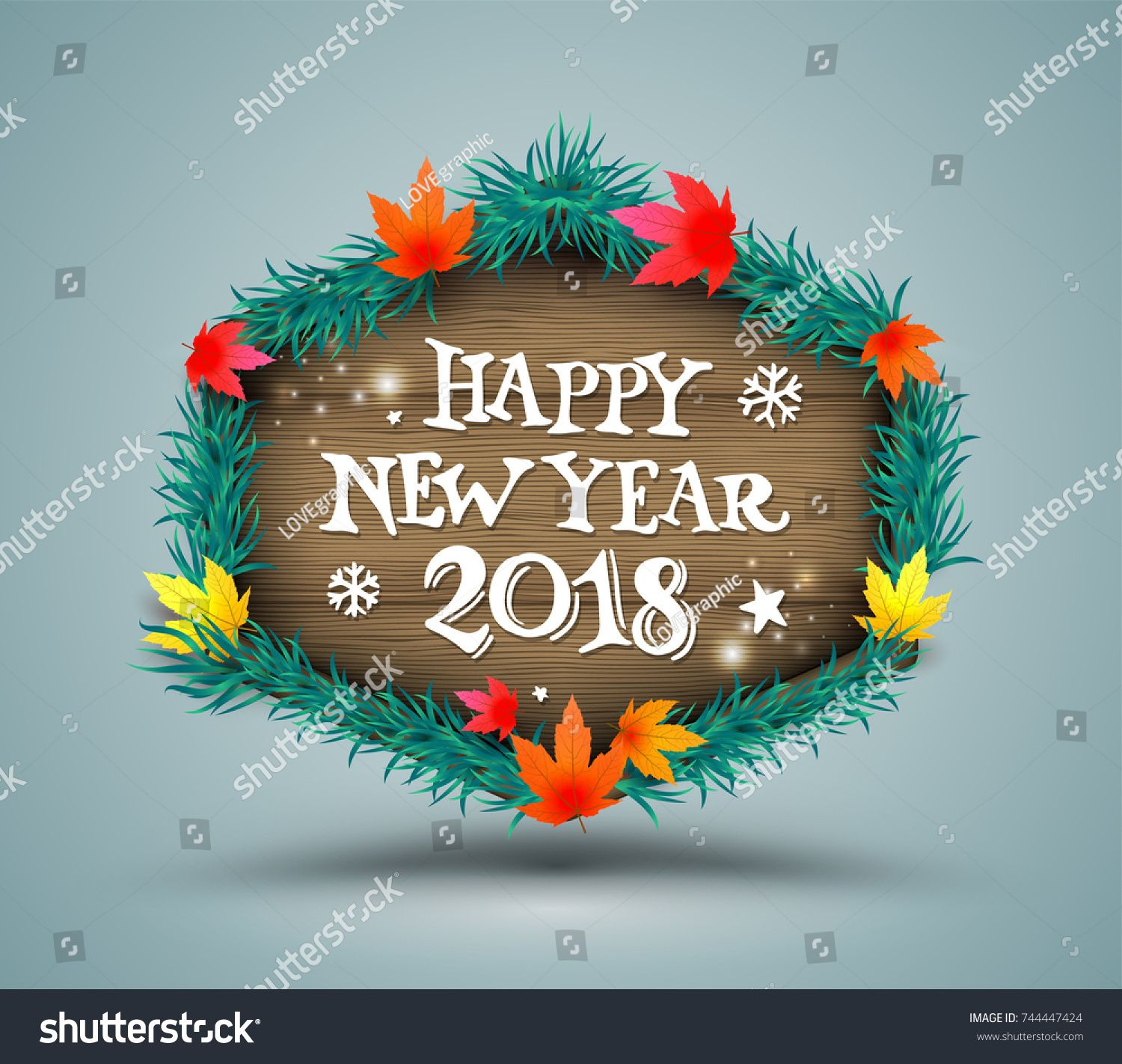 Happy New Year Lettering On Modern Banner For New Year Element And