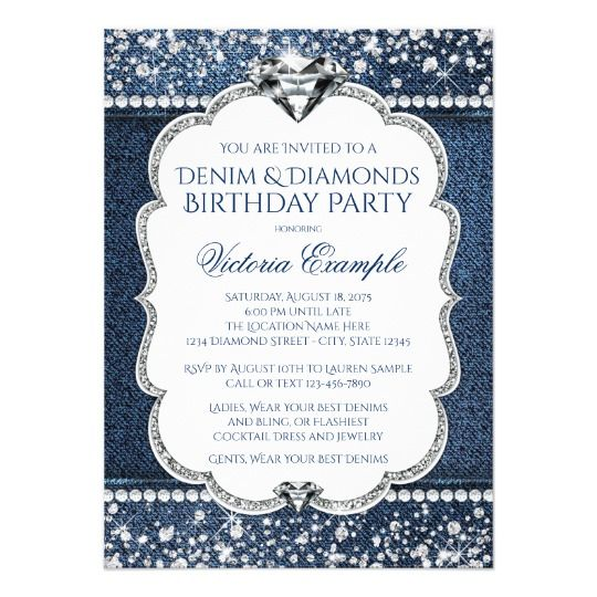 Denim and Diamond Bling Birthday Party Invitations Denim Pinterest - best of sample invitation to birthday party