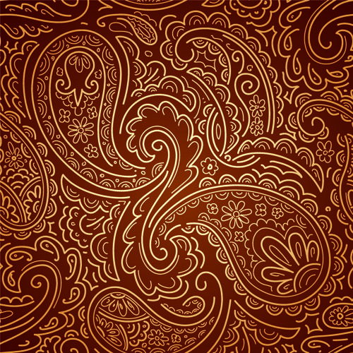 Set of Brown Paisley patterns vector material 03 - Vector Pattern ...