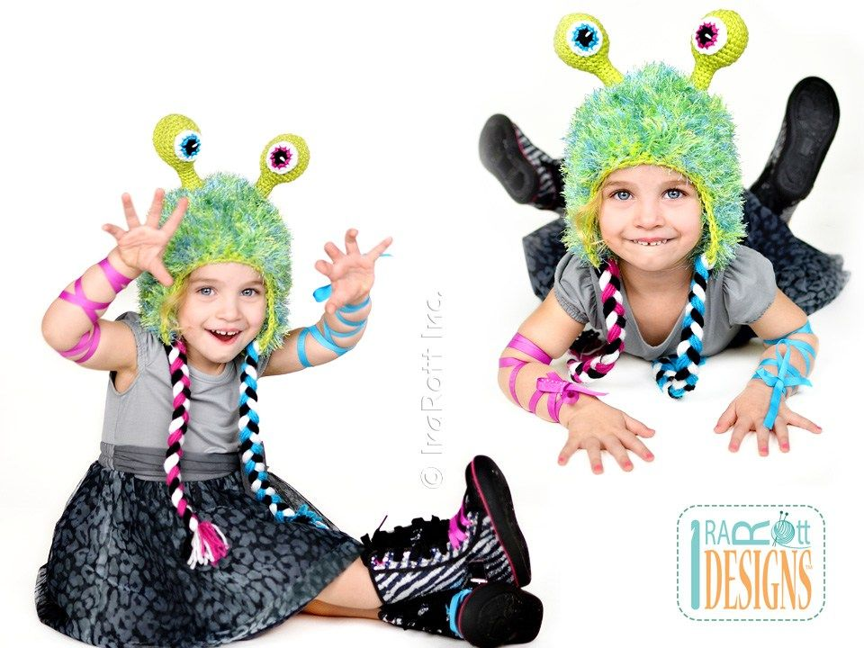 Alien Monster Hat Crochet Pattern boys and girls of all ages by ...