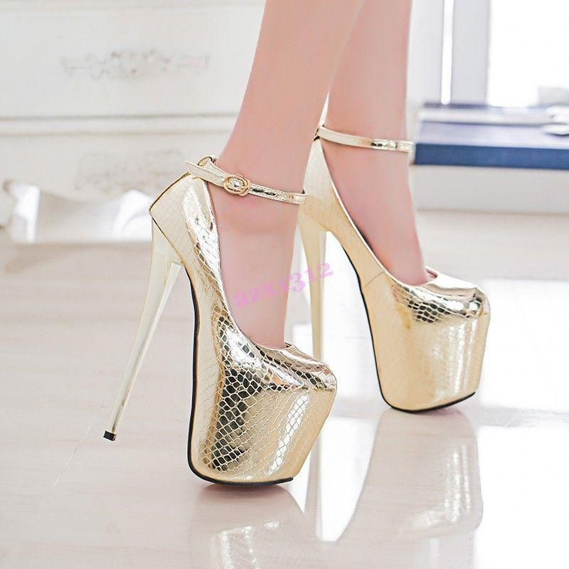 Womens Shoes Shiny Leather Night Club Super High Heels Platform Strap Party Ch