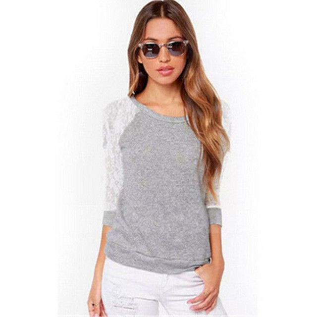 Kakaforsa Women Backless Cotton T-shirts Fashion Full Sleeve Solid T-shirt Sexy Lace Tops Tees Female Loose Casual O-Neck Shirts
