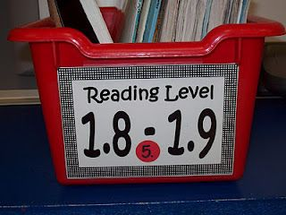Here is a close up of the book bin leveling system that I use.  All my student books are Accelerated Reader books.  They are divided into the different tubs by their book level.  I use a sticker and number system so the students know which bin to put their book back into.  Click Here to Download the Book Bin Labels