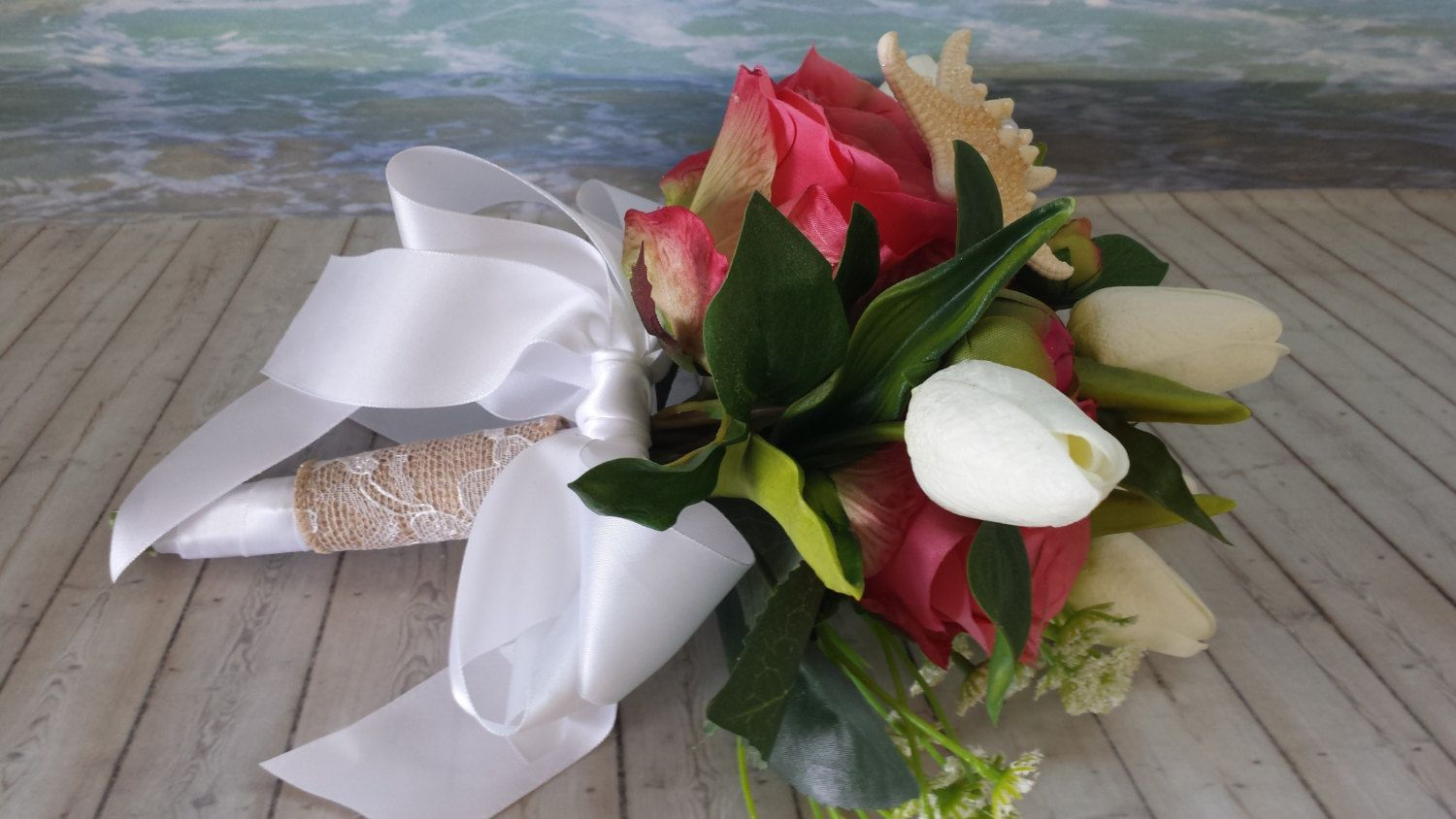 Items Similar To Nautical Wedding Flower Girl Bouquet Small Toss Beach Destination Bridesmaid Pink Roses White