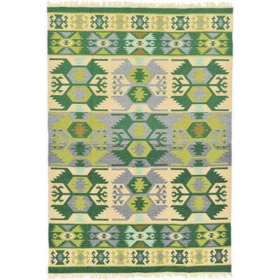 Unique Loom Kilim Dhurrie Green Area Rug Rug Size: