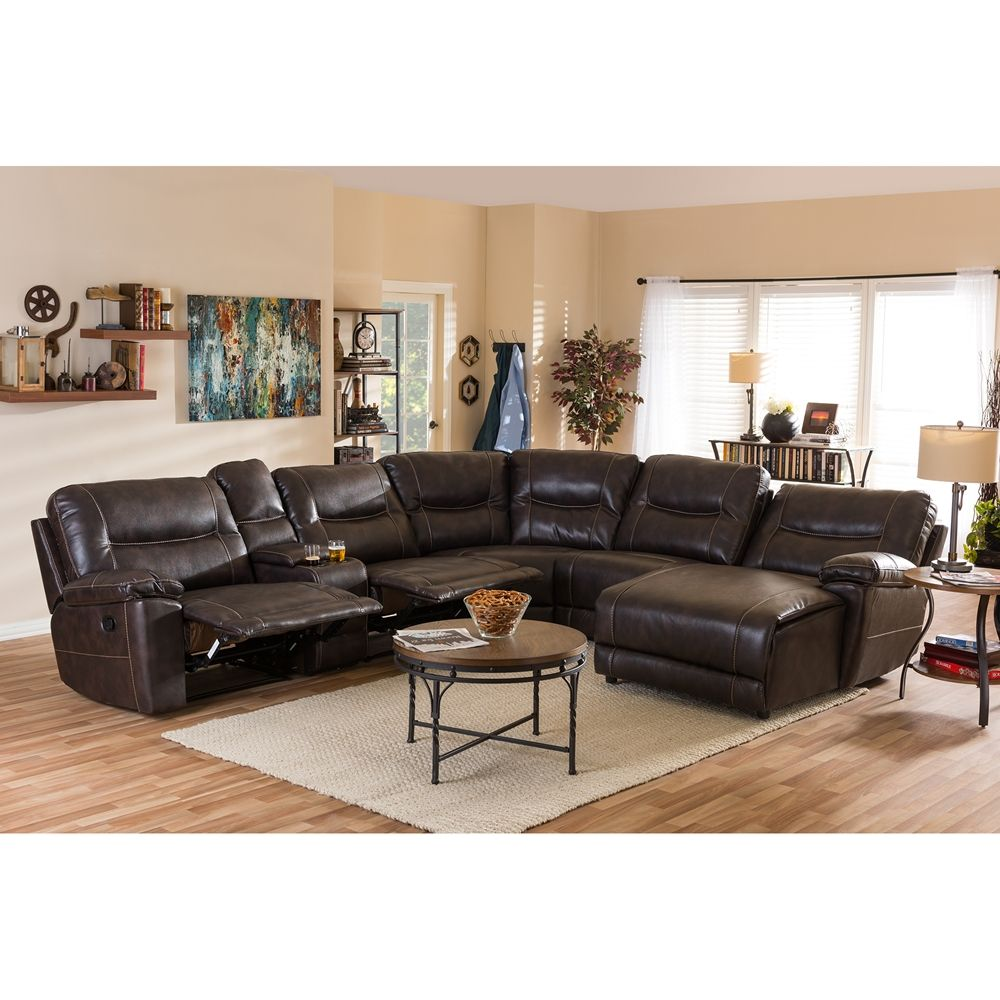 Baxton Studio Mistral Modern And Contemporary Dark Brown Bonded Leather  6 Piece Sectional With Recliners