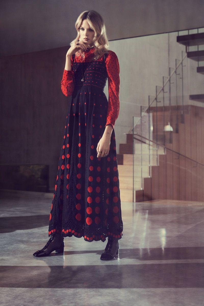 Dressed in polka dots, Gabriella Wilde wears Dior blouse and dress 1dfd6e04369