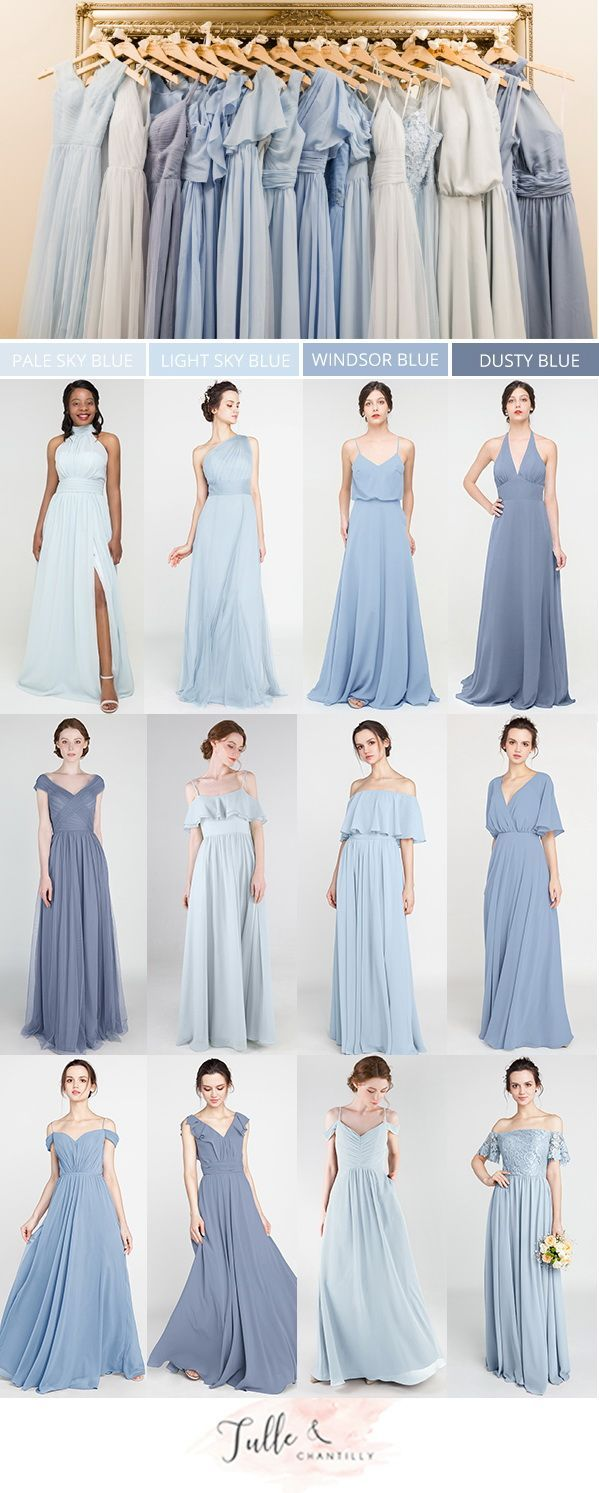 shades of blue mismatched bridesmaid dresses for wedding