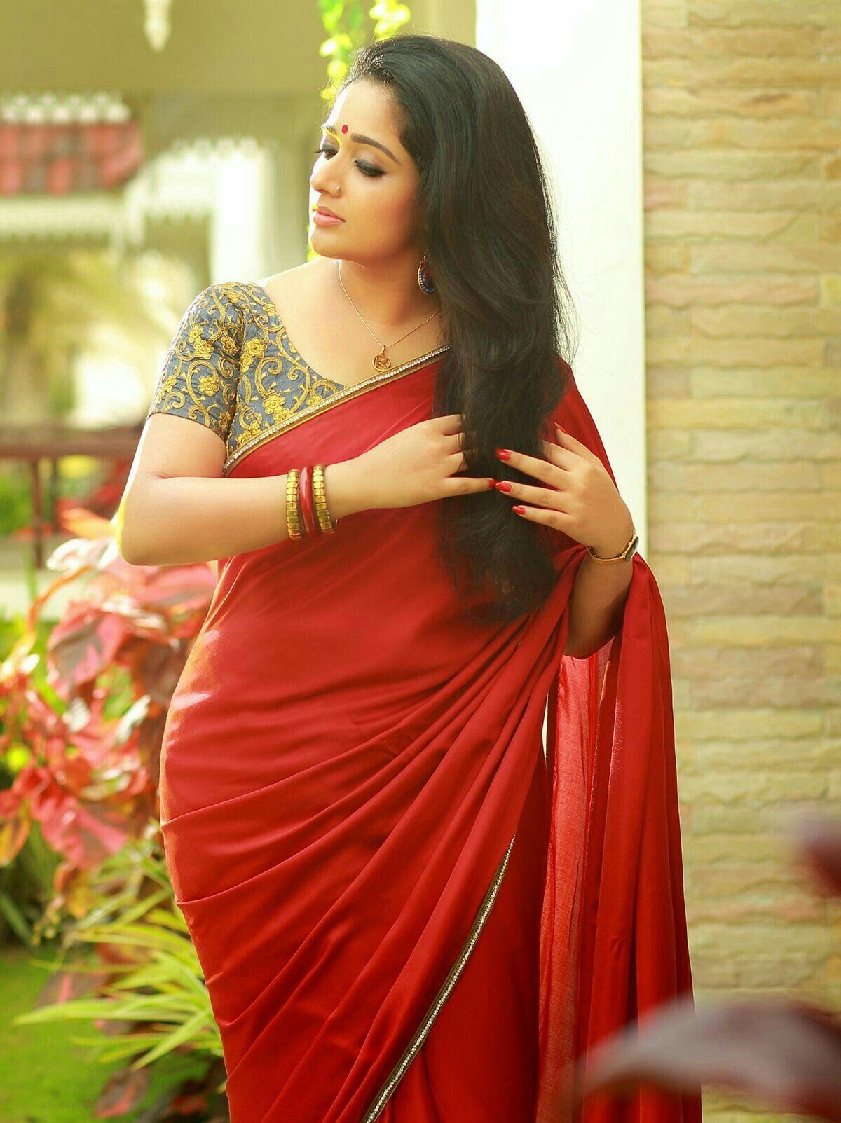 Kavya Madhvan  Sarees  Saree Shopping, Red Saree, Saree