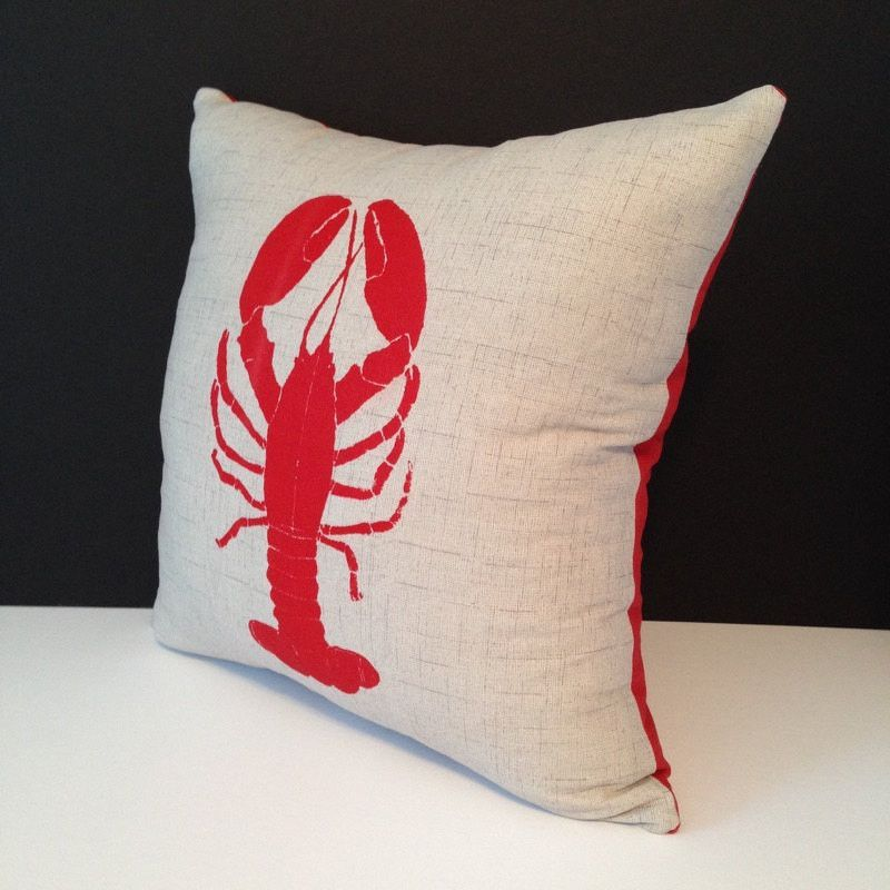 Handmade Hand printed Lobster Throw Pillow Cover, Accent Pillow