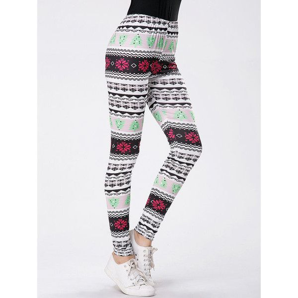 Christmas Striped Printed Mid-Rise Legging ($16) ❤ liked on ...