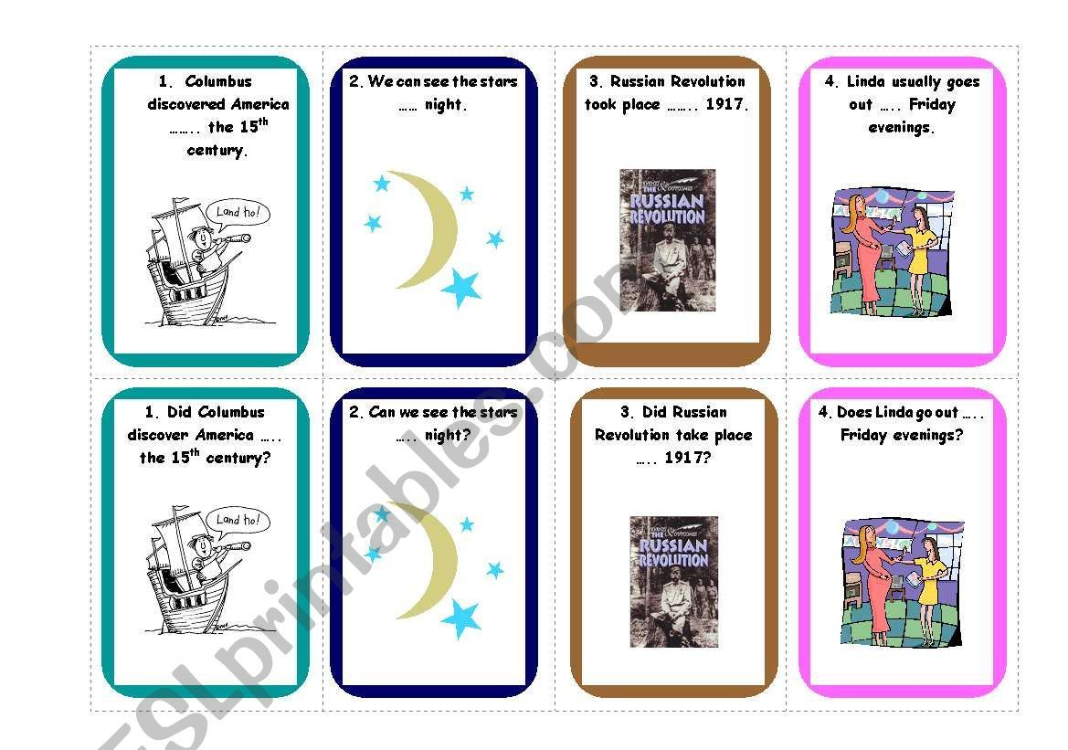 Prepositions Of Time Card Game 1 3