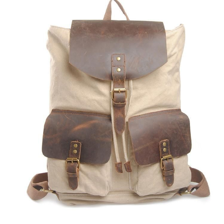 5122a5cc63625 Big Leisure Canvas Backpack Leather School Shoulder IPAD Bag 6819
