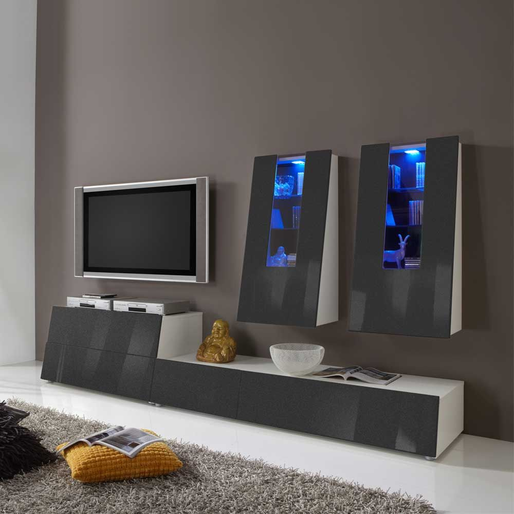 TV Wohnwand In Anthrazit Hochglanz Farbwechsel Beleuchtung (4 Teilig)  Wohnzimmerschrank,wohnwand,