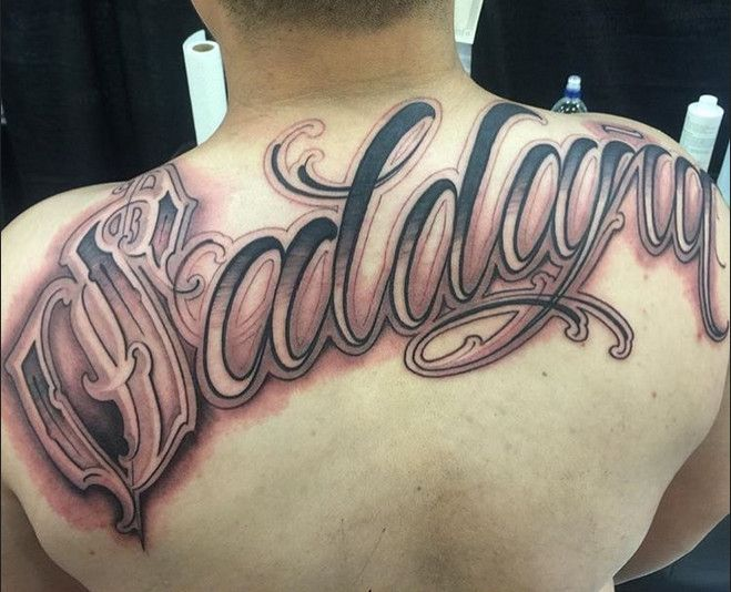 Back Tattoo Tattoo Lettering Chicano Font Style On Back Tattoo