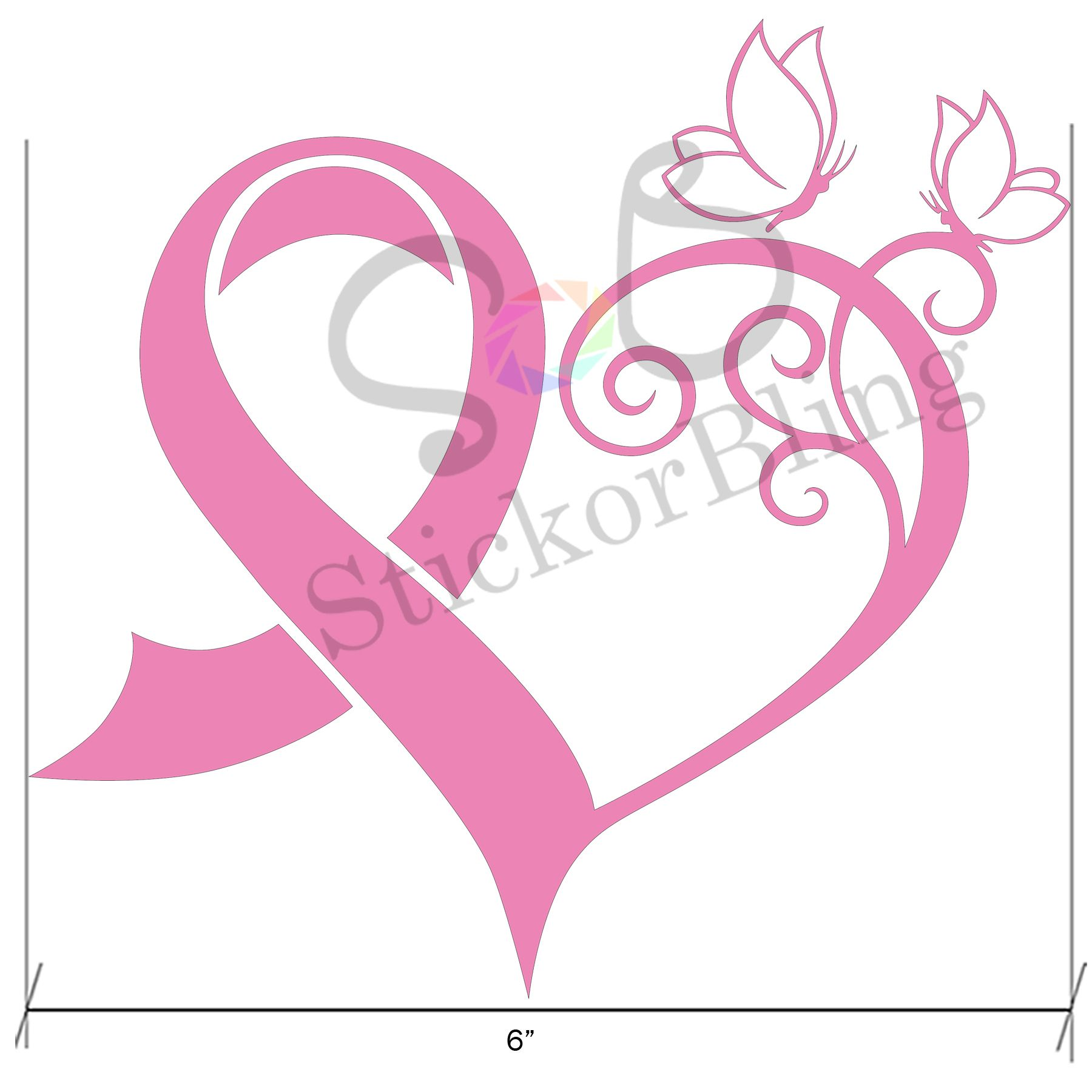 breast cancer awareness ribbon heart butterfly pink vinyl decal