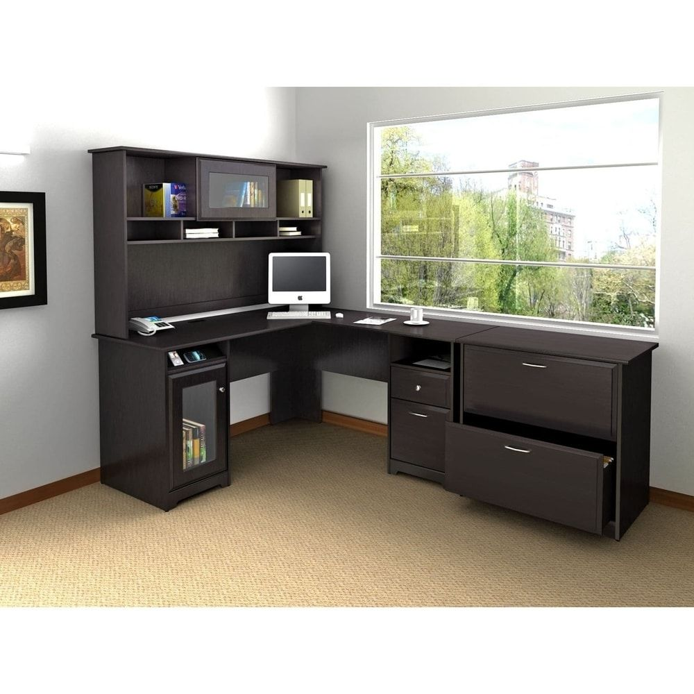 Cabot l shaped desk with hutch and lateral file cabinet wood finish