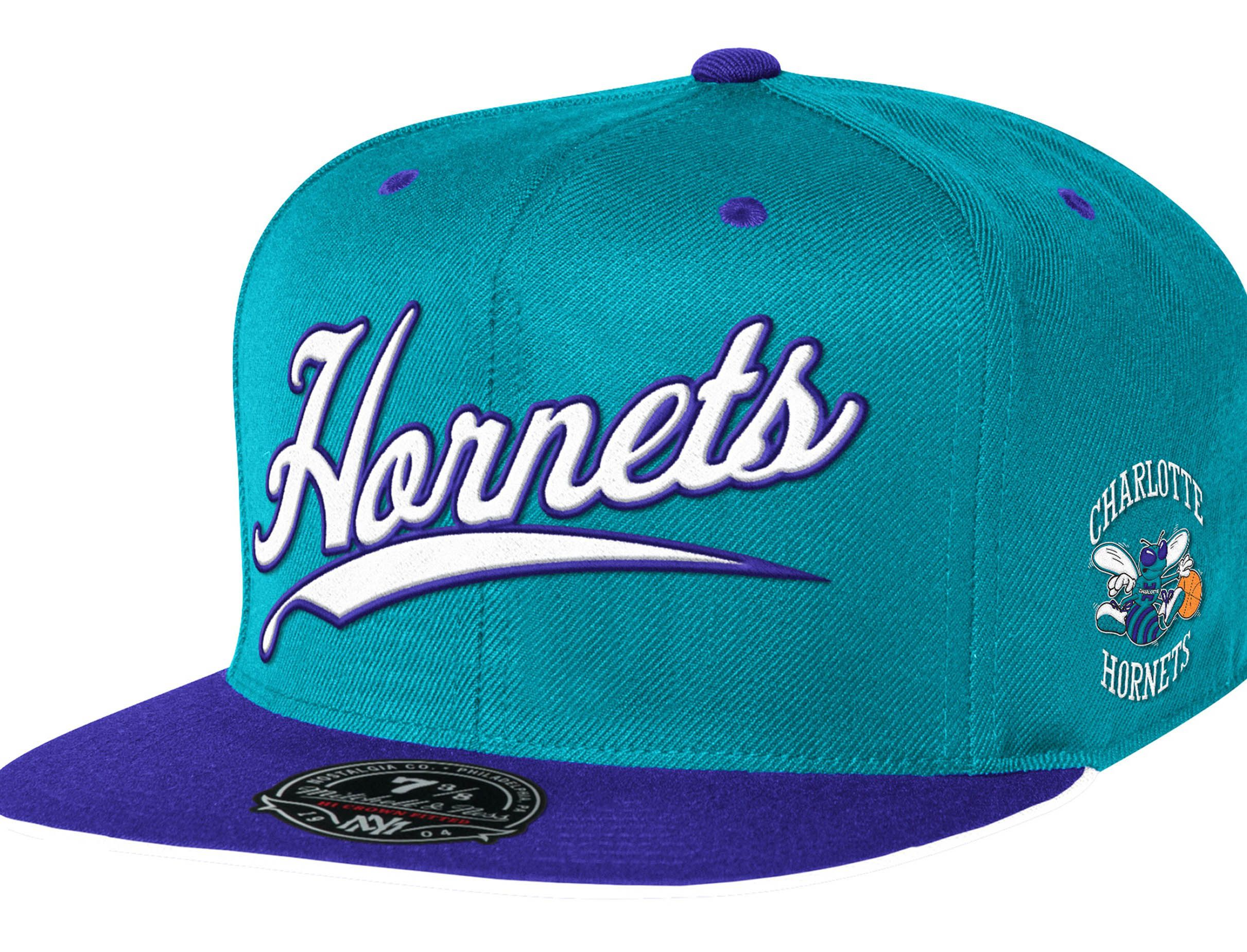 29c45c72 Charlotte Hornets Billboard Script High Crown Fitted Baseball Cap by  MITCHELL & NESS x NBA