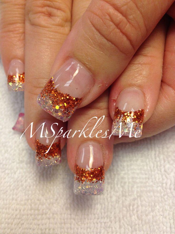 Fall Nails - Orange Glitter