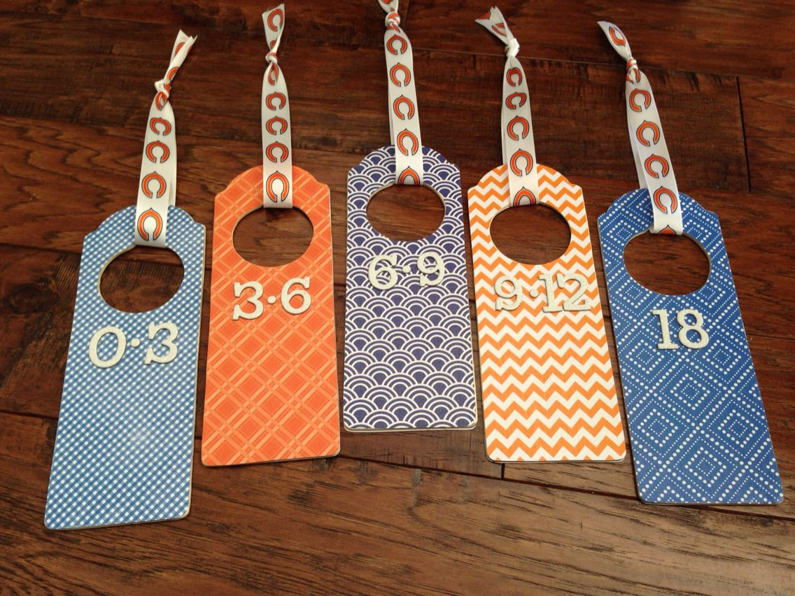 Baby closet dividers for boys room in orange and blue
