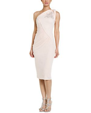 Badgley Mischka Blush Draped Jersey One-Shoulder Dress