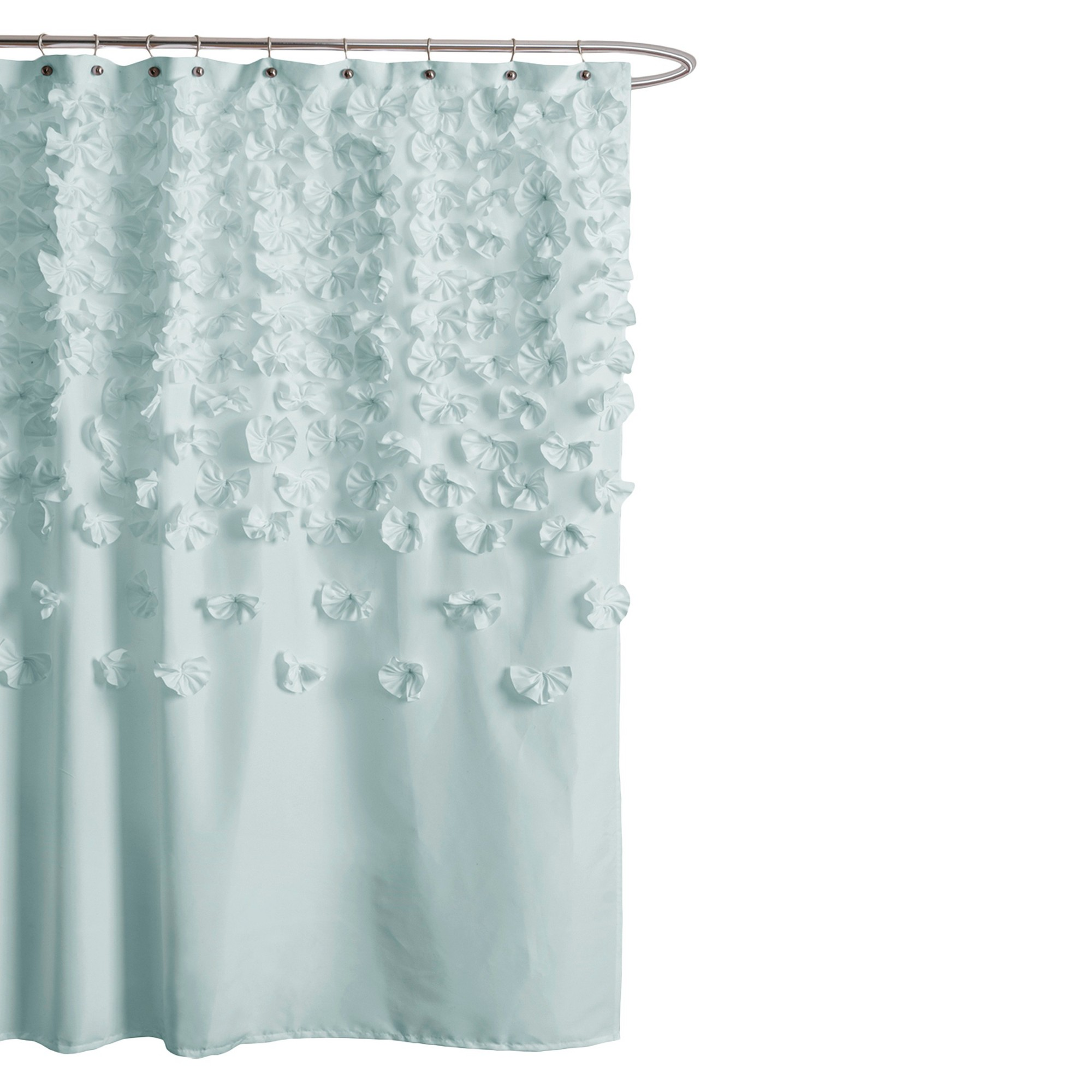 Lucia Scattered Flower Texture Shower Curtain Lush Decor Light