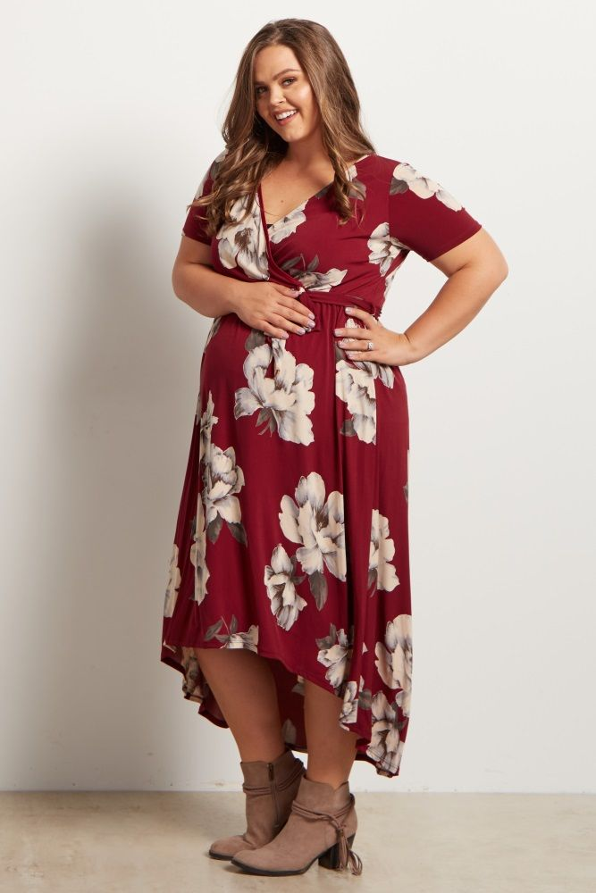 94374f463d Burgundy Floral Hi-Low Midi Plus Maternity Dress