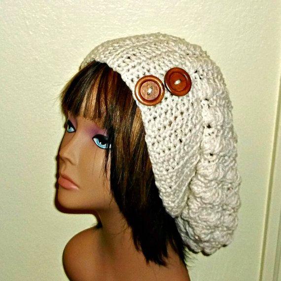 c82d8178345 Slouchy Crochet Hat Cream Ecru Womens Tam Beret Boho Chunky Beanie