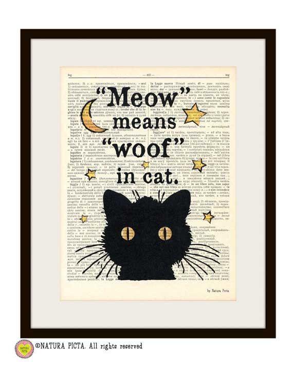 Cat meow quote print, funny cat print, Cat book art, Funny animal print, cat dictionary print, cat poster, cat book art print, NATURA PICTA