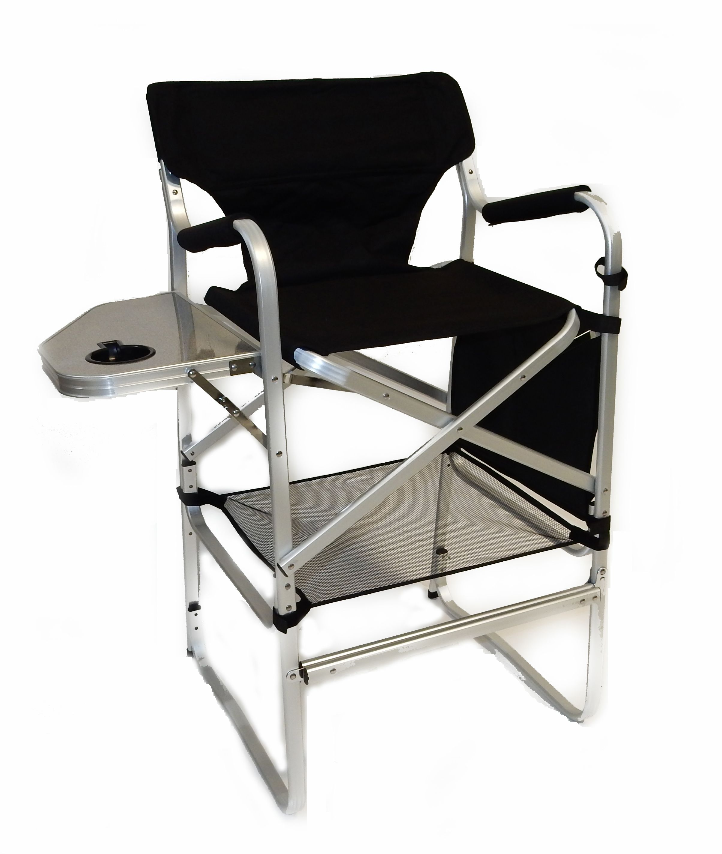 Deluxe tall folding director chair with side table and side bag