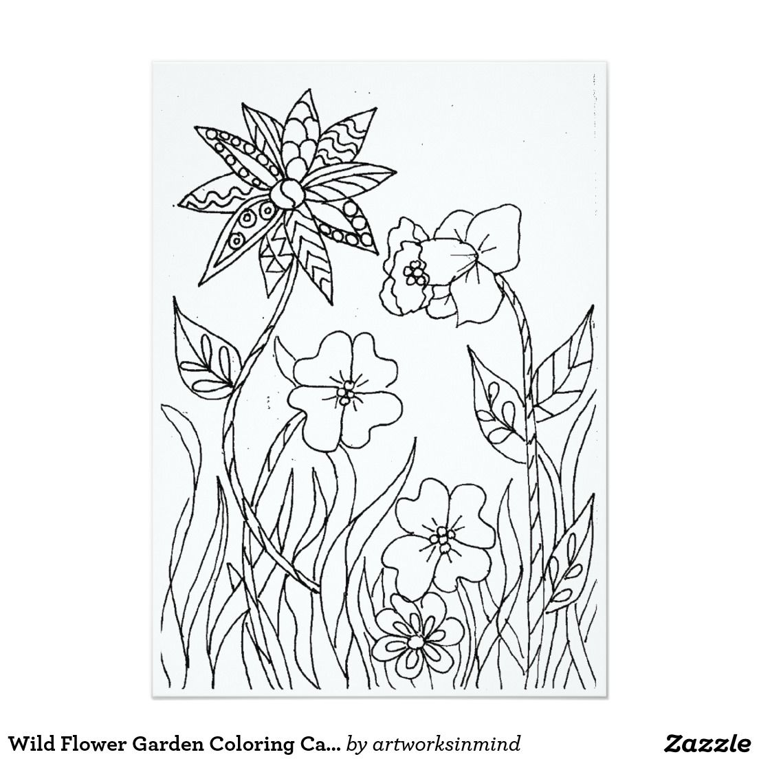 Wild Flower Garden Coloring Card #card #coloring #arttherapy #zazzle