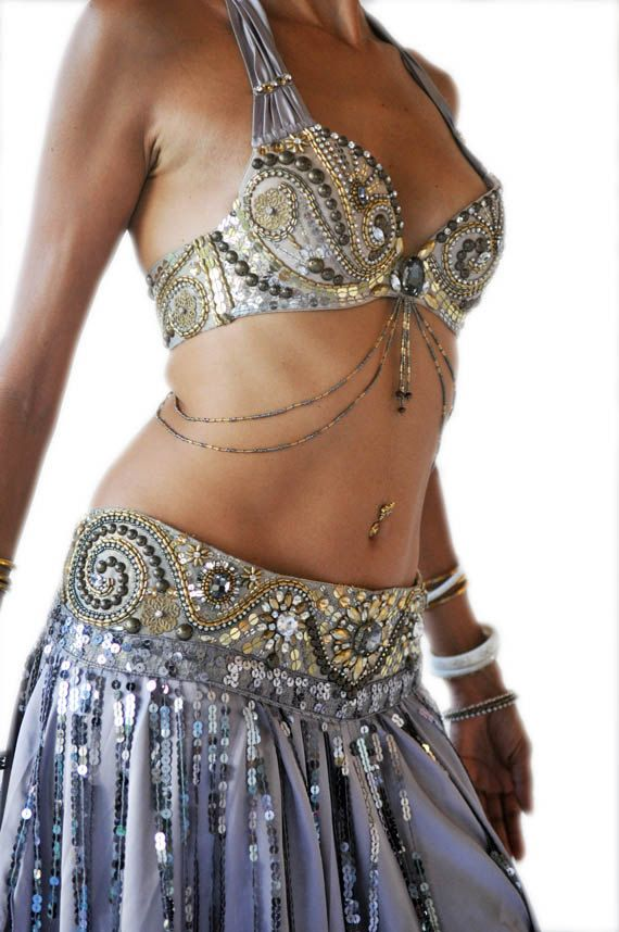 ae66d14ee061e Belly Dance Costume Set MAUDIE MAE - Vintage Silver and Gold beaded bra and  belt with Silver Satin Skirt.  430.00