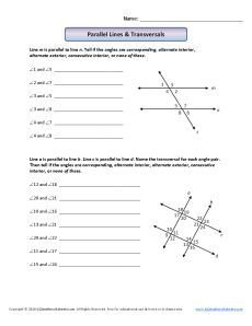 Angle Worksheet - Parallel Lines and Transversals | Places to Visit ...