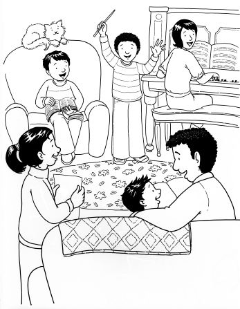 An illustration of a family of six sitting in a living