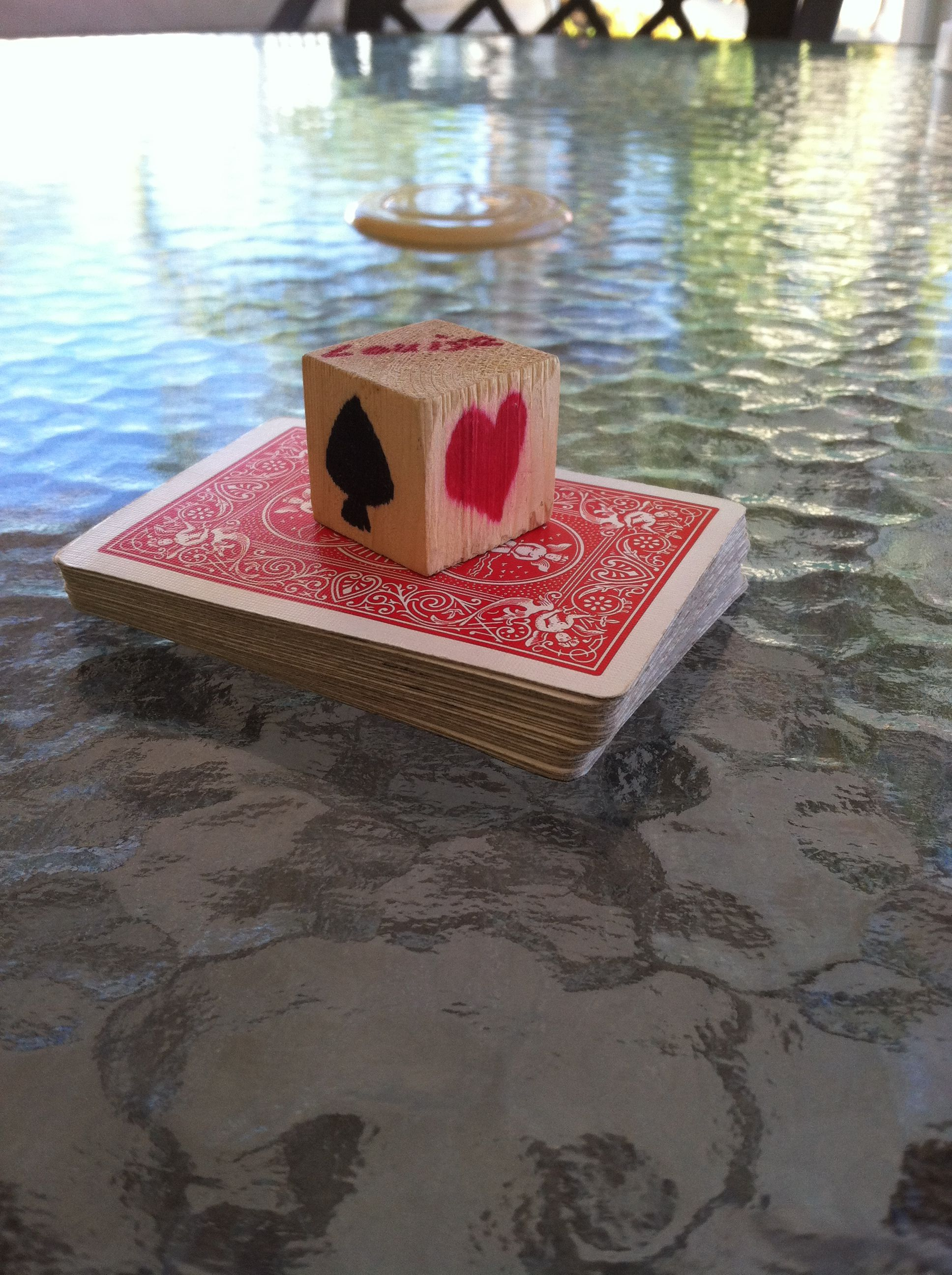Euchre cubes. Made from small craft blocks to let the