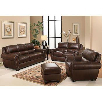 Austin 4 Piece Top Grain Leather Living Room Set Good