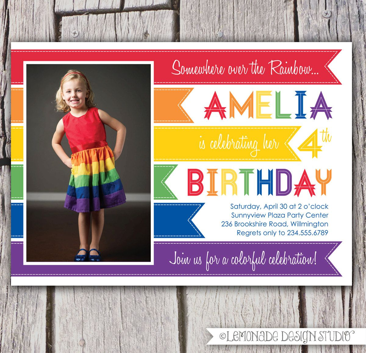 Rainbow Invitation Birthday Party Photo