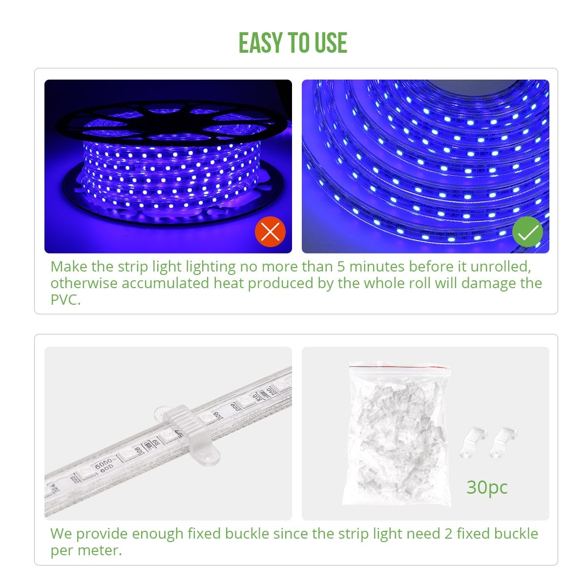Le 49ft Led Strip Lights 120 Volt 115w 1000 Smd 5050 Leds Waterproof Flexible Blue Etl Listed Plug In Indoor Outdoor Led Rope Lights Strip Lighting Led Curtain Lights