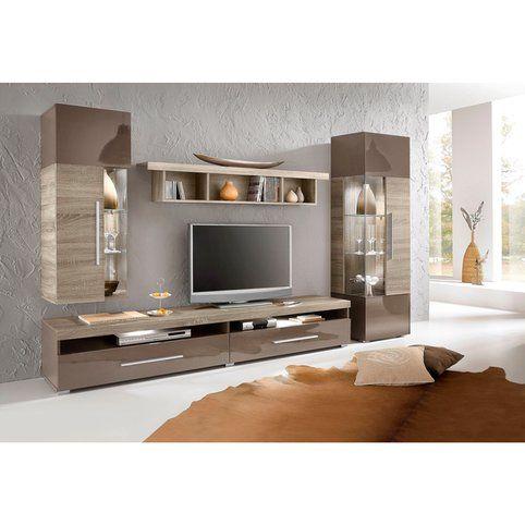 Ensemble mural 4 éléments - Décor chêne foncé/marron- Vue 1 | Just ...