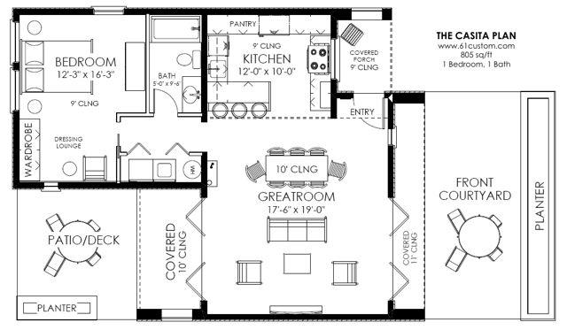Casita Plan Small Modern House Plan 61custom Contemporary Modern House Plans Small House Plans House Floor Plans Small Modern House Plans House plan for small houses