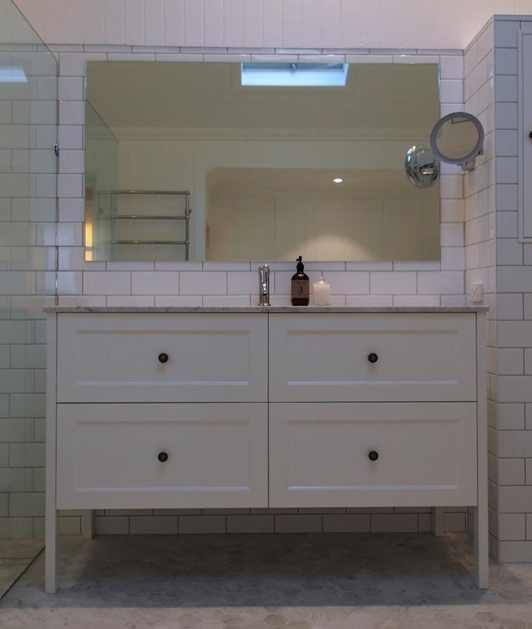 Vanity Bathroom Brisbane custom-made vanity from bathroom supplies, marble bench top. | red