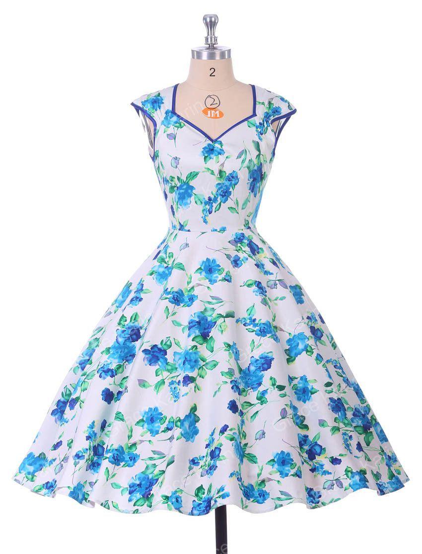 Floral Print Summer Dresses Women Casual Party Vestido Vintage Retro ...