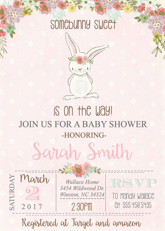 Bunny baby shower invitation baby girl spring rabbit vintage shower bunny baby shower invitation baby girl spring rabbit vintage filmwisefo