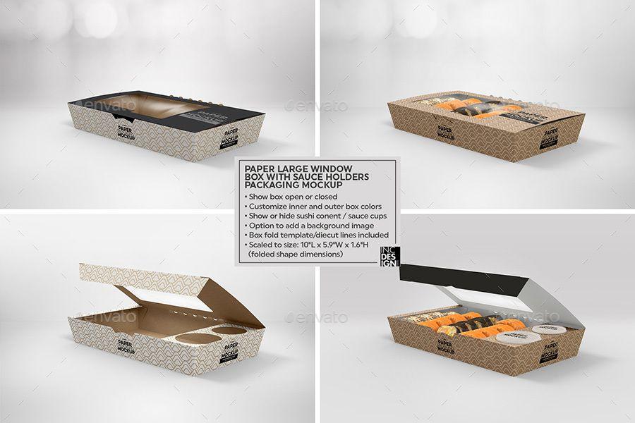 Download Large Paper Window Sushi Box Mockup Box Mockup Free Packaging Mockup Packaging Mockup