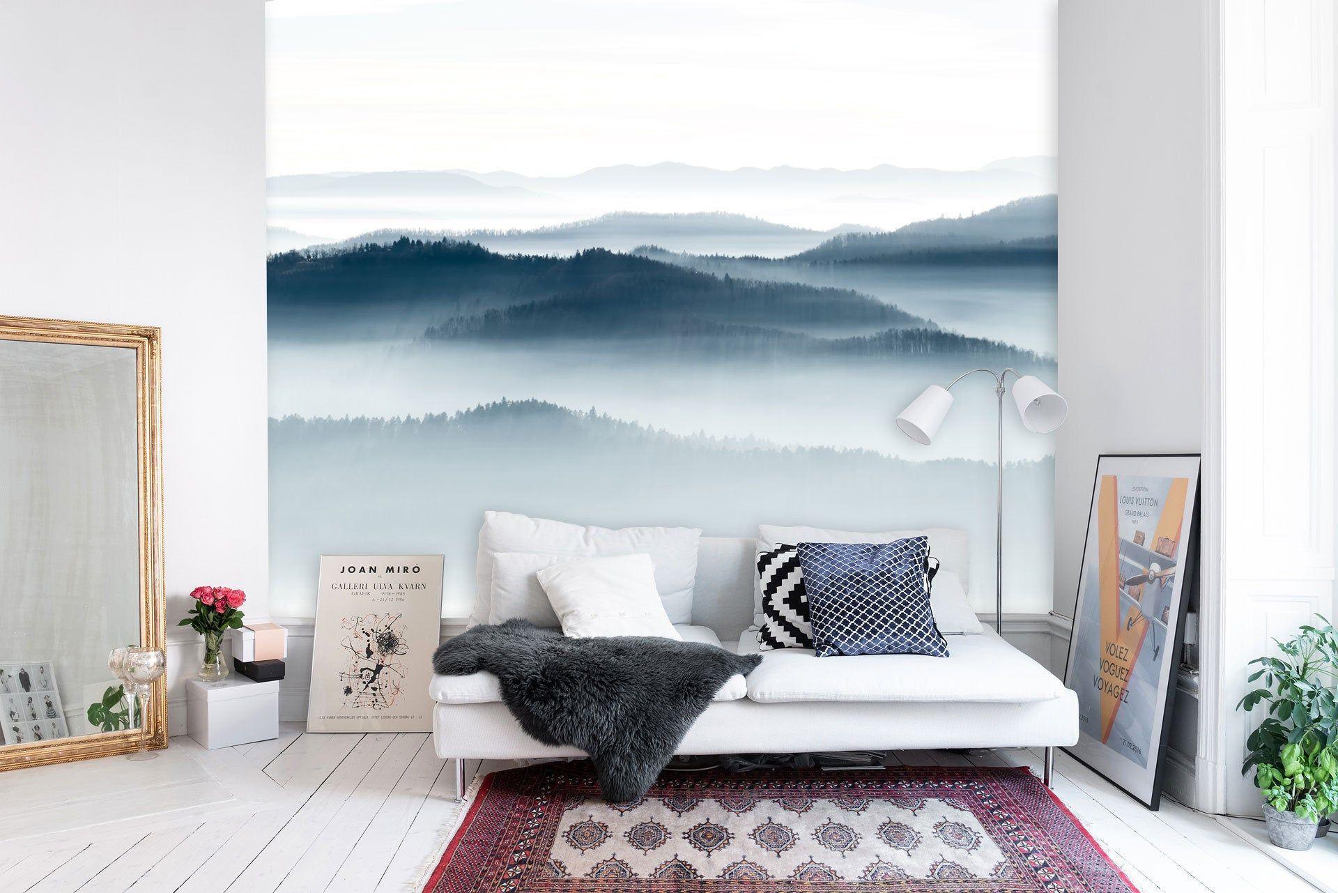 Serene Horizon Wall mural, Sunbath Mountains mural, Misty