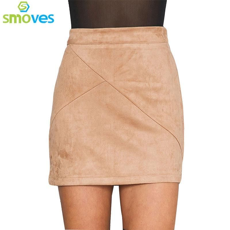 Smoves Womens Vintage 80`s Retro High Waist Patchwork Suede Skirt Thick  Warm Winter. Size Information Size S Waist 68cm 762e7f223