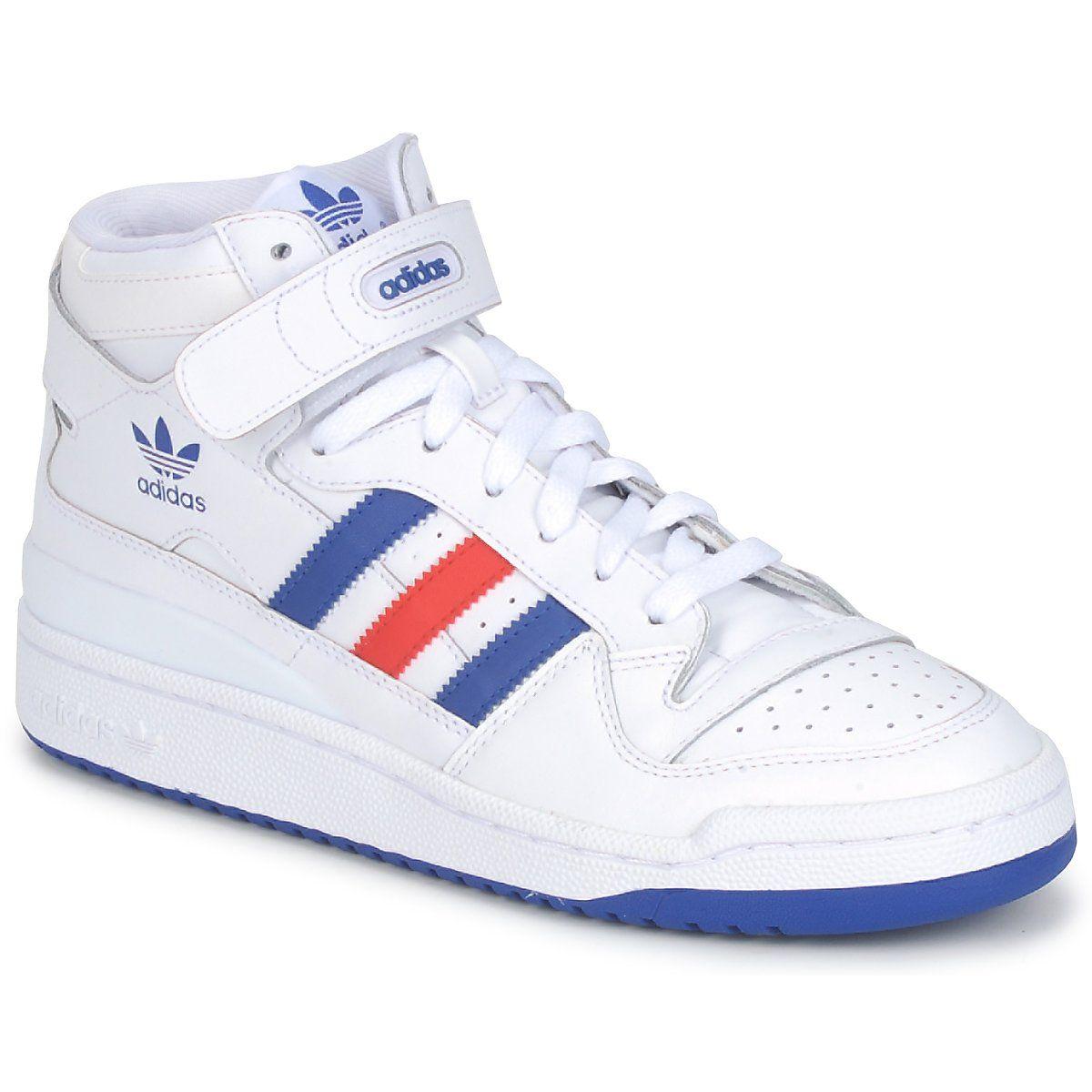 Ciao top formatori adidas originali metà bianco / blu / rosso forum libero