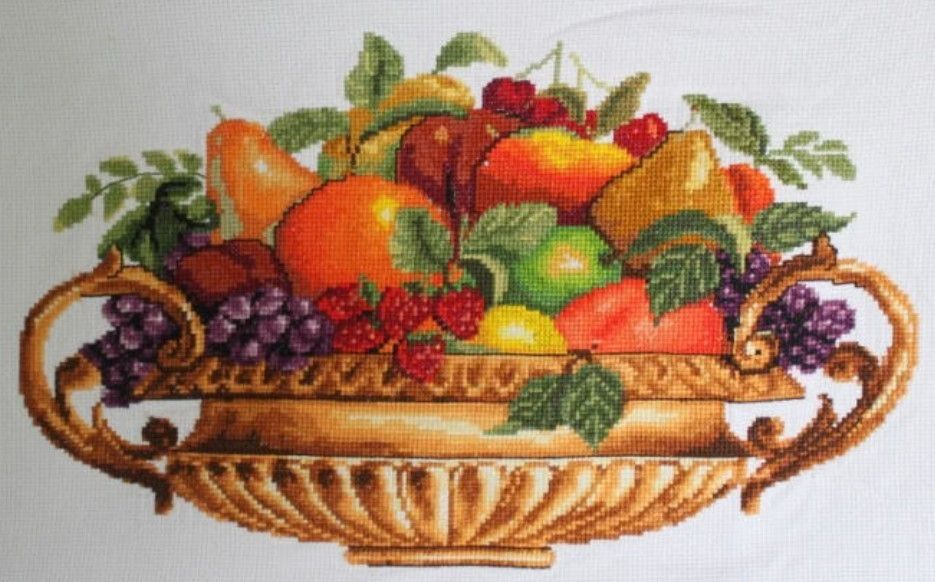 New Finished Completed Cross Stitch Fruits