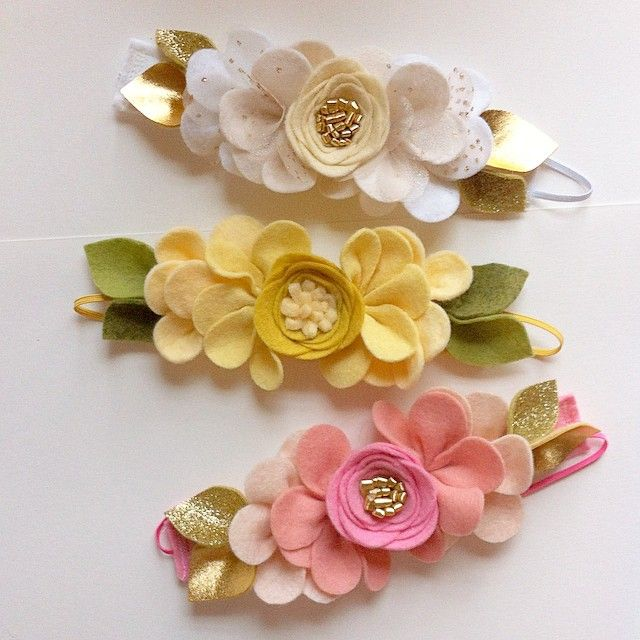 Felt roses Mini Fancy floral crown Baby girl kids Pretty flower heabands newborn Glitter.